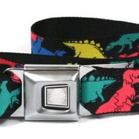 Buckle-Down Multi-Colored Dinosaurs Black Seatbelt Belt