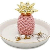 WANYA Ananas Ceramic Ring Jewelry Holder Decor Dish Organizer, Pineapple