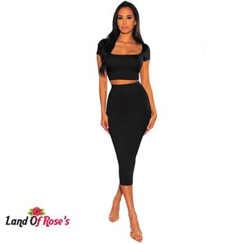 Two Piece Club Square Collar Short Sleeve Crop Top Mid-Calf Skirt High Waist