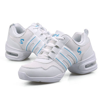 Ladies' Dance Shoes Lace-up Walking Sneakers Net Sport Shoes