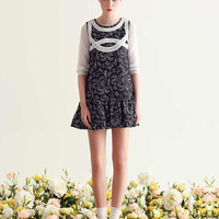 Mesh Embroidered Floral Print Sleeveless Ruffled Dress