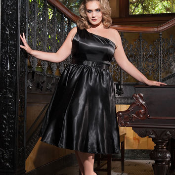 2016 Plus Size Sexy Black Cocktail Dresses One Shoulder Tea Length Sleeveless Short Prom Party Gowns Robe De Soiree Custom Made