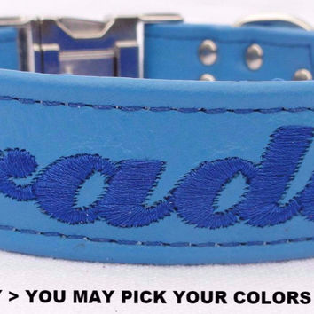"Dog Collar: Leather w/ Nylon Webbing - 1"" Wide - Personalized - Non-Adjustable (Sizes 12-22) Example 3"