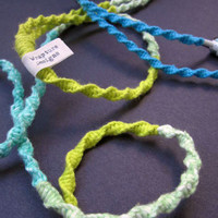 Organic Yarn Wrapped Tangle Free Earbuds / Headphones 'Beyond The Sea' By Wrapture Designs