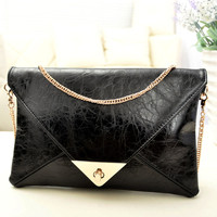 NEW Women Girl Clutch Purse Envelope Korea style Evening bag Patchwork chain envelope bag day clutch messenger bag Size 28*19