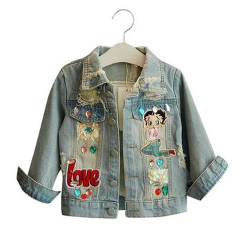 Trendy LILIGIRL Girls Denim Jackets for Baby Autumn&Winter Cartoon Pattern Sequins Coat Windbreaker 2018 Vintage Kids Clothes Outwear AT_94_13