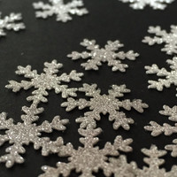 50 sparkly silver snowflake embellishments Christmas embellishments xmas cardmaking gift wrapping UK 1st class