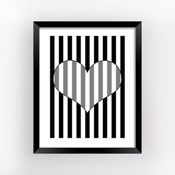 Optical Gifts, Op Art, Valentine Gifts, Heart Op Art, Romantic Gift, Bedroom Wall Decor, Love Printable, Print, Home Decor, Printable Poster