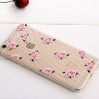 Floral Case TPU Cover for iphone 7 7 Plus & iphone 6 6s Plus & iphone se 5s + Gift Box