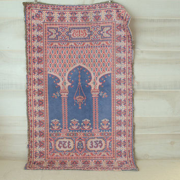 Vintage Turkish Prayer Rug, Bohemian Wall Tapestry, Moroccan Wall Decor, Hippie Wall Hanging Rug