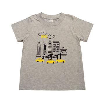 grey NYC kid short sleeve tee