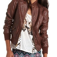 Distressed PU Bomber Jacket