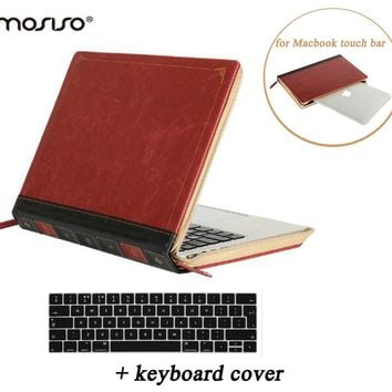 MOSISO Vintage Classic PU Case for Macbook Pro 13 Touch Bar A1706 A1708 2016 Pro 15 Touch Bar/Pad A1707 PU Book Sleeve Cover