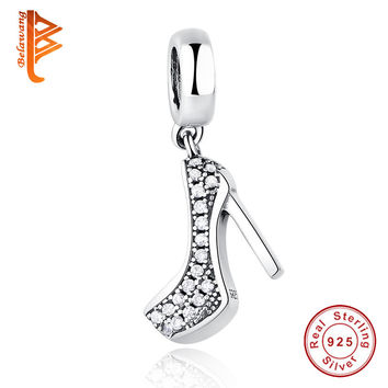 Fits Pandora Charm Bracelet 100% 925 Sterling Silver Jewelry High Heeled Shoes Crystal Clear CZ Crystal Original Charms Beads