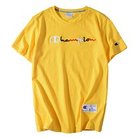 Champion Summer Fashion New Multicolor Embroidery Letter Couple Sports Leisure Top T-Shirt Yellow