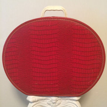 MOD Vintage Cherry Red Hat Box and Train Travel Case HUGE!