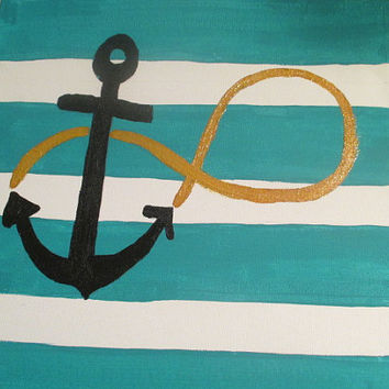 "Teal striped anchor infinity 12 x 12"" canvas painting"