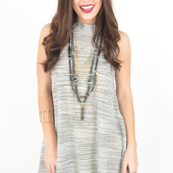 Sleeveless Heather Grey Marled Knit Dress with Cutout Back Detail