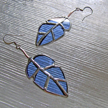 Blue Elm Leaf  Wine Bottle Glass Earrings, Unique Wedding Gift, Anniversary Gift, Mother's Day Gift