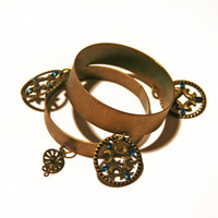 Set of 2 bronze bangles with charms - Cosplay-Steampunk-Medusa-Roman-Greek-Costume jewelry