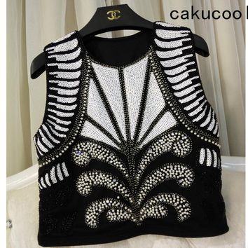 Cakucool Women Summer Sequined Tank Camisole Sexy O-neck Sleeveless Shirt All Beading Shinny Basic Tanks Camis Crop Top Lady