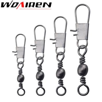 20Pcs/lot Fishing Connector Pin Bearing Rolling Swivel Stainless Steel with Snap Fishhook Lure Tackle Accessorie 2# 3# 4# 6# 8#
