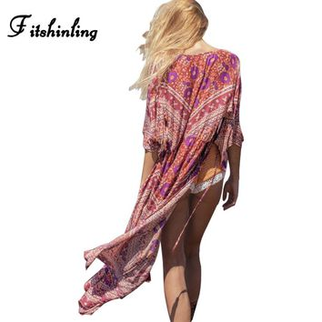 Fitshinling Red chiffon swimsuit beach cover-up swimwear floral print flare sleeve boho women blouse long cardigan swimwear sale