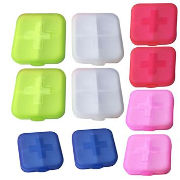 10Pcs Pill Case Storage Box Medicine Organizer capsule tablet vitamin glitters Container Holder Cases with 4 Cells health care