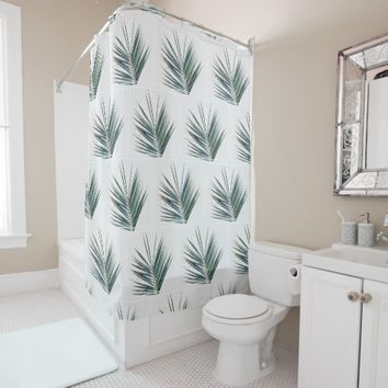 Stylish Palm Tree Green Leaves Shower Curtain
