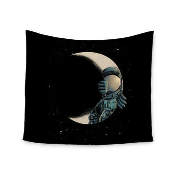"digital carbine ""Crescent Moon"" Black Illustration Wall Tapestry"