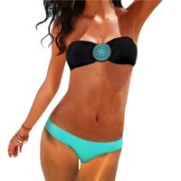 MinibekTM Women's Sexy Swimwear Swimsuit Two-Pieces Bikini Beach Sets Black/Light Blue