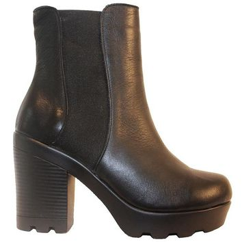 Ethem F1601 - Black Leather Dual Gore Pull-On Chunky Platform Bootie
