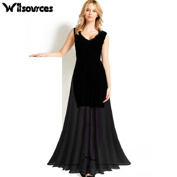 Witsources Women Maxi Dresses Woman New Lace patchwork V Neck Sleeveless floor length long dress SD3307