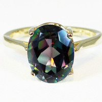 14k Yellow Gold Oval Mystic Topaz Ring