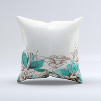 Vintage Teal and Tan Abstract Floral Design Ink-Fuzed Decorative Throw Pillow