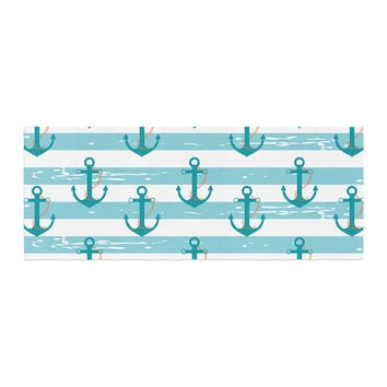 "afe images ""Nautical Anchor Pattern"" Teal Blue Illustration Bed Runner"
