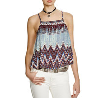 Free People Womens Sundazed Printed Backless Tank Top