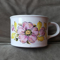 Wide Mouth Pink Floral Coffee Mug