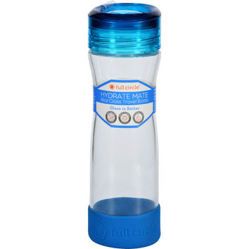 Full Circle Home Water Bottle - Travel - Glass - Hydrate Mate - Blueberry - 16 oz