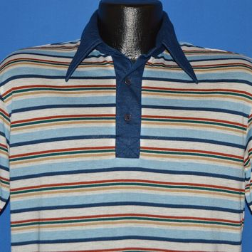 70s Kennington Striped Big Collar Polo shirt Medium
