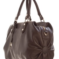 Condotti-Large Leather Bowler Handbag-Brown