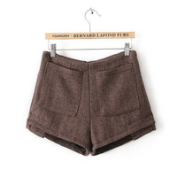 Buy Retro Style Pockets Embellished Worsted Zipper Short Pants Brown with cheapest price|wholesale-dress.net