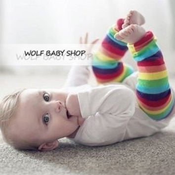 Retail striped colored rainbow ankle socks Free shipping! children's stockings kneecap leg warmers kids foot strap 2014 new