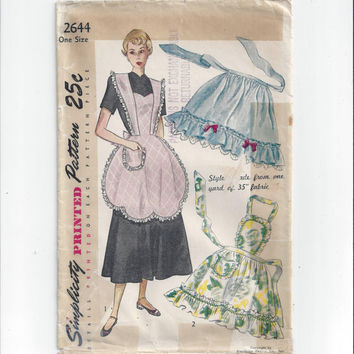 1948 Vintage Simplicity 2644 Pattern for Misses' Apron in 2 Styles, Bib, Half, Ruffled Apron, Vintage Pattern, Home Sewing Pattern, Primer