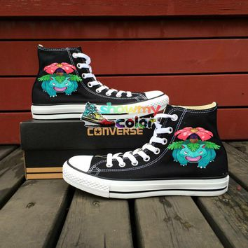 Pokemon Go Women Men Converse All Star Black Canvas Shoes Venusaur Design Hand Painted Shoes Man Woman Shoes Boys Girls