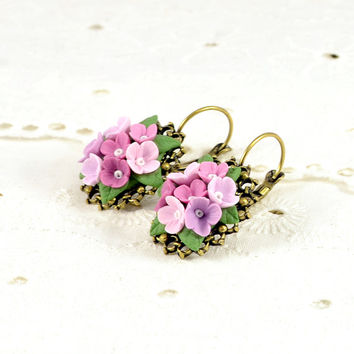 Floral Earrings Polymer clay jewelry Romantic Polymer clay Applique Vintage Pink Lilaс Purple Pastel color Polymer clay earrings