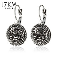 17KM Vintage Geometric Round Crystal Drop Earrings for Women Brincos 2017 Steampunk Style Women Party Jewelry Accessories