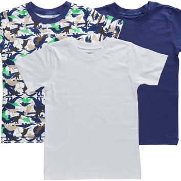 3-Pack Dinosaur Camoflage 100% Cotton Fashion Printed T-Shirts