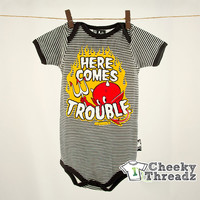 Baby Romper Here comes trouble Onesuit Babies Romper Cool unique Playsuit for toddlers
