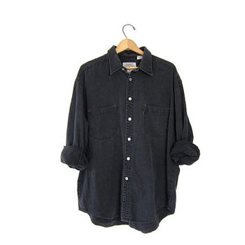 Vintage Black Levis Shirt. Dark Grey Gray Denim Shirt. Faded Jean Shirt. Boyfriend Button Up Work Shirt. Men's XL